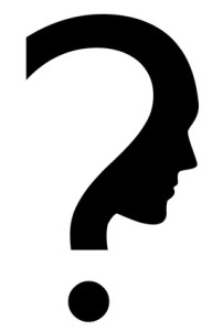 Vector icon of question mark with face