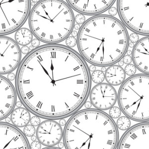 Seamless pattern with watches in gray. Stylish vector texture.