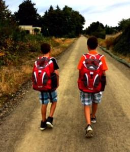 boys walking to school