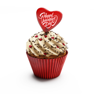 Isolated cupcake for Valentine's Day love celebration
