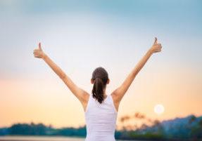 Winning, success  and life goals concept.